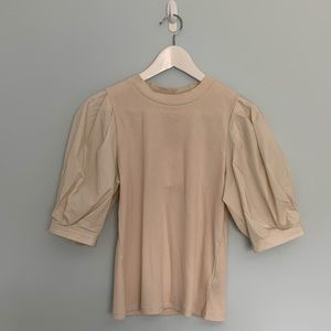 NWT Who What Wear Puff Sleeve Beige Top
